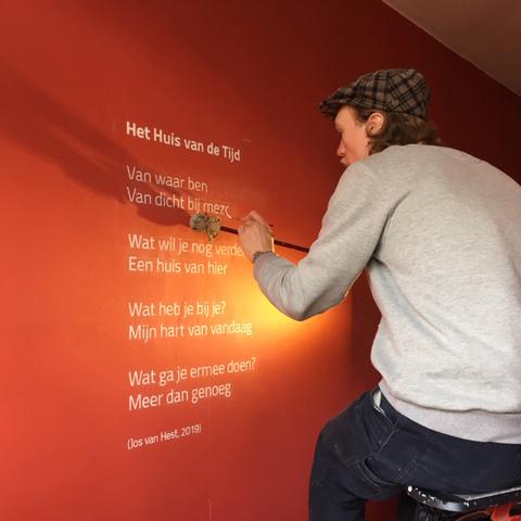 Muurschildering voor de opening van Huis van de Tijd 01